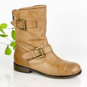 Steve Madden Moto Combat Honey Warm Brown Boot